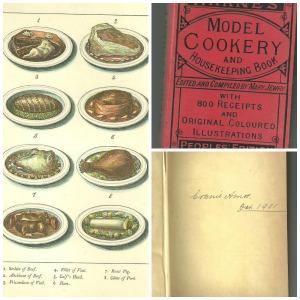 מצד ימין למעלה כריכת הספר. מצד ימין למטה אפשר לראות שהיה שייך לאישה בשם בוני איימוס ב-1901.